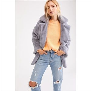 NEW FREE PEOPLE / BLUE SOLID FAUX FUR KATE COAT